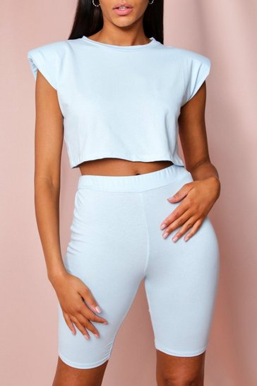 Baby blue Shoulder Pad T-Shirt and Cycle Short