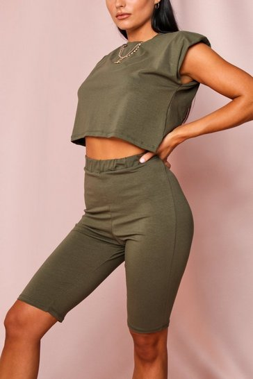 Khaki Shoulder Pad T-Shirt and Cycle Short