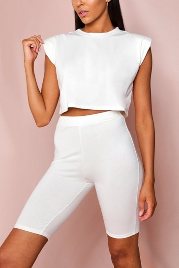 White Shoulder Pad T-Shirt and Cycle Short