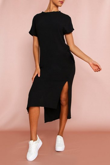 Black Woven Split Side Maxi Dress