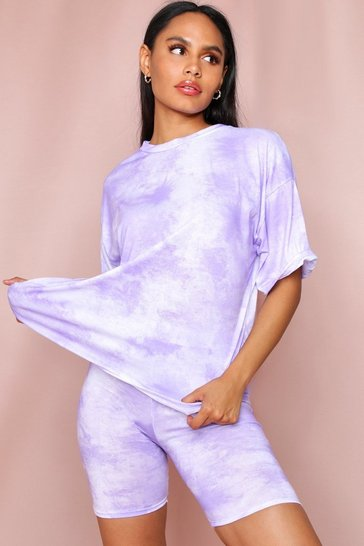 Lilac Tie Dye Oversized T-Shirt and Cycle Short
