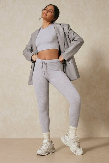 Grey Rib Legging and Crop PJ Set