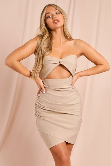 Cream Premium Bandage Cut Out Knot Detail Bodycon Dress