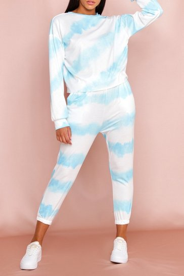 Blue Tie Dye Crew Neck and Jogger Set