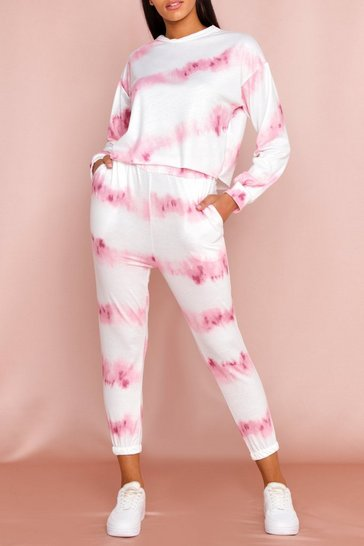 Pink Tie Dye Crew Neck and Jogger Set