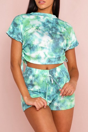 Green Tie Dye Shorts Co-Ord