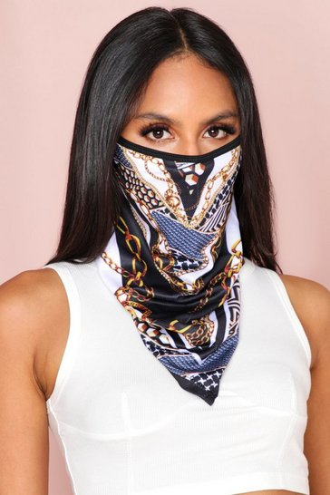 Black Chain Print Longline Fashion Face Mask