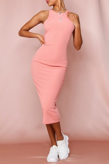 Coral Rib Racer Neck Midi Dress