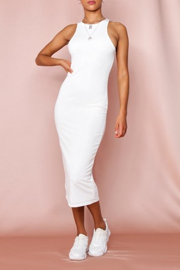 Cream Rib Racer Neck Midi Dress