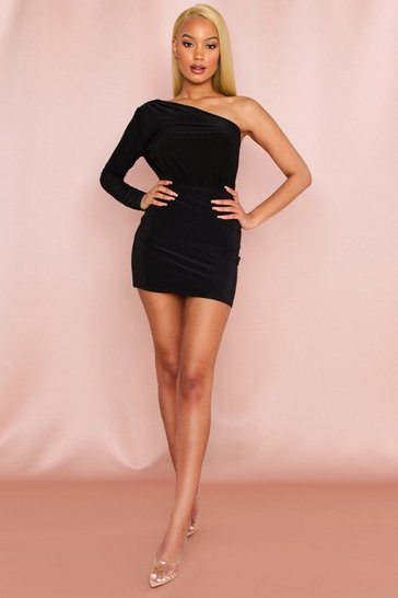 Black One Shoulder Ruched Thong Bodysuit