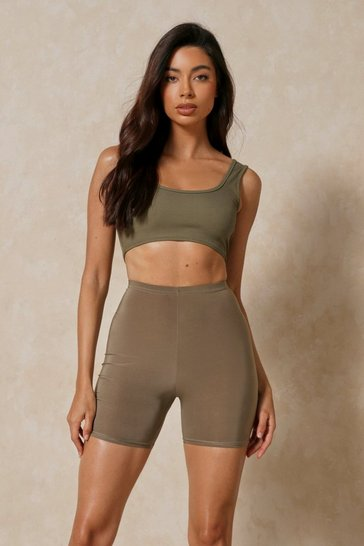 Khaki Soft Touch Long Line Cycle Shorts