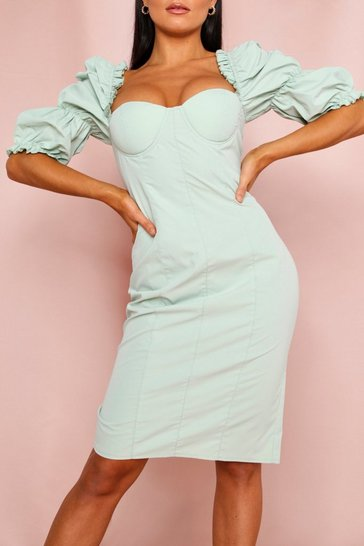 Sage Sweetheart Puff Sleeve Midi Dress