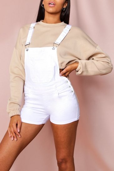 White Denim Dungaree Shorts