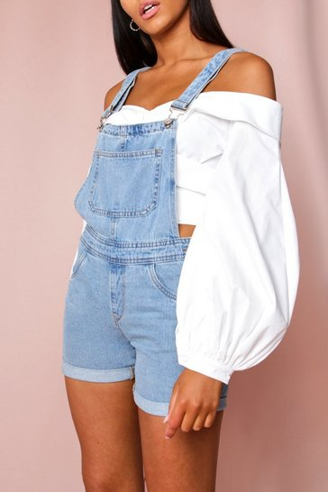 Blue Denim Dungaree Shorts