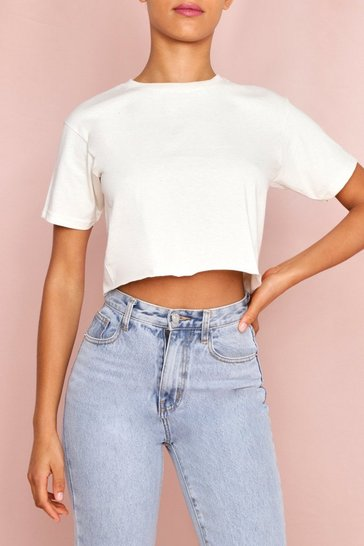 Oatmeal Oversized Crop Tee