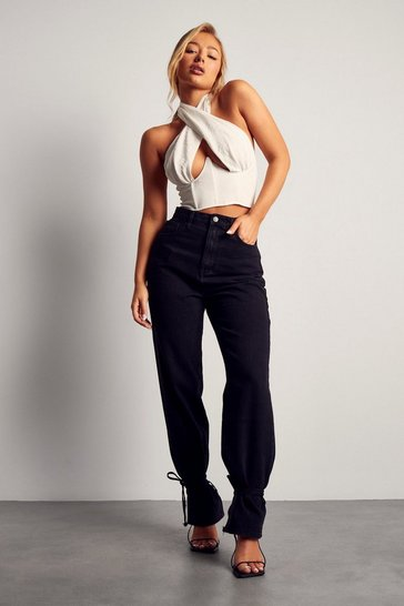 Black High Waisted Tie Hem Detail Jeans