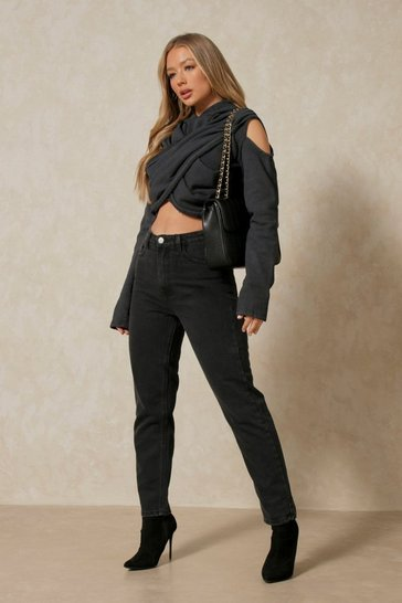 Black High Waisted Mom Jean