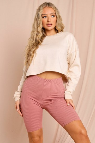 Rose High Rise Ribbed Cycling Shorts