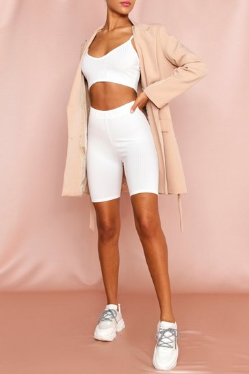 White Ribbed Cycling Shorts