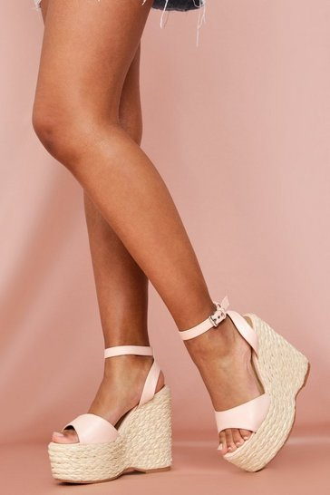 Nude Buckle Strap Wedges