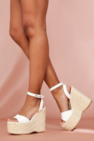 White Buckle Strap Wedges