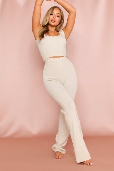 Cream Knitted Wide Leg Lounge Set