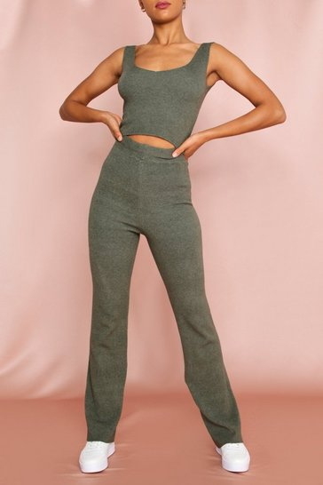 Khaki Knitted Wide Leg Lounge Set
