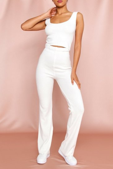 White Knitted Wide Leg Lounge Set