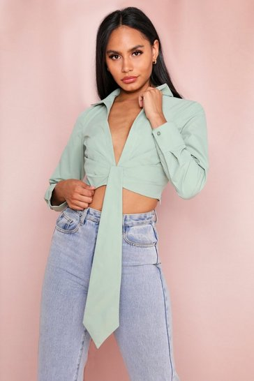 Sage Drape Cropped Shirt