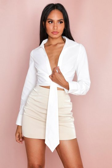 White Drape Cropped Shirt