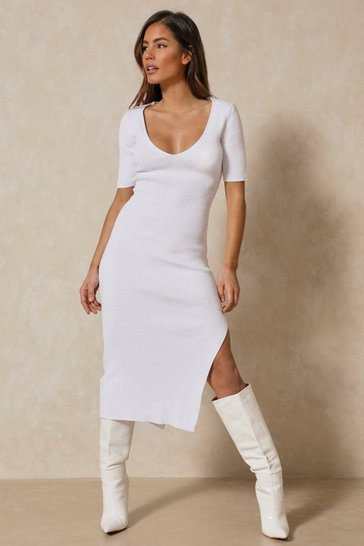 White Misse Knitted Rib Short Sleeve Split Leg Midi Dress