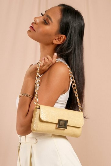 Beige Chunky Chain Strap Shoulder Bag