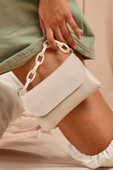 White Chain Detail Strap Shoulder Bag
