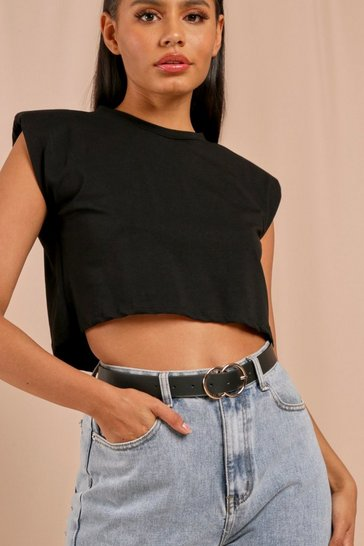 Black Double Ring Buckle Belt