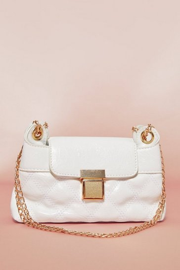 White Quilted Chain Detail Shoulder Bag