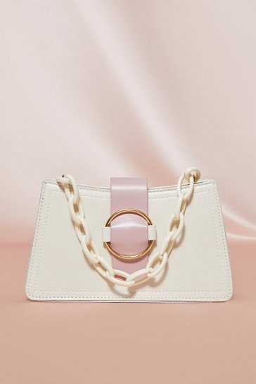 White Chain Handle Buckle Front Bag