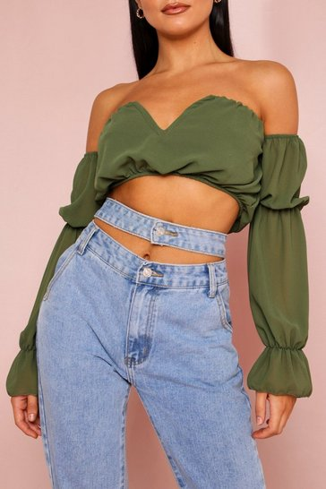 Khaki V Bar Front Ruched Crop Top