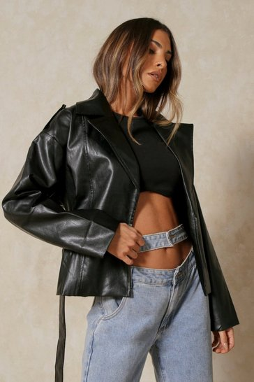 Black Oversized Leather Look Jacket