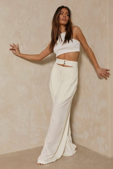 Cream Double Waistband Wide Leg Trousers