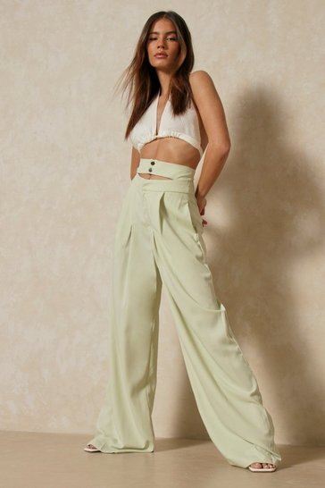 Sage Double Waistband Wide Leg Trousers