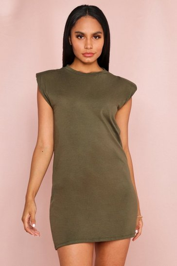 Khaki Shoulder Pad T-Shirt Dress
