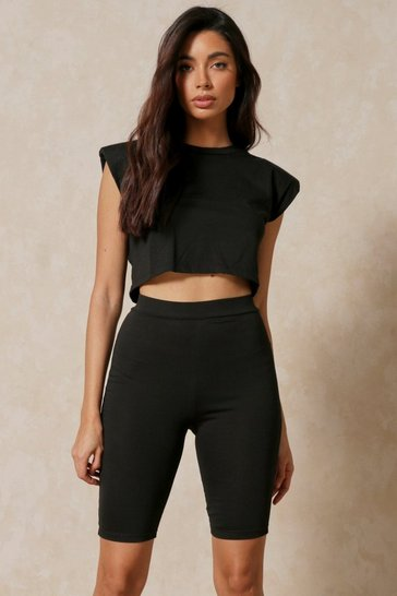 Black Shoulder Pad T-Shirt Shorts Set