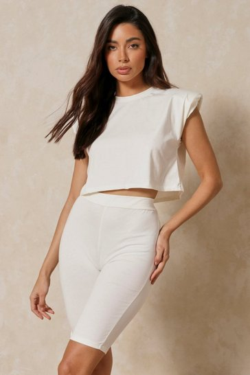 Cream Shoulder Pad T-Shirt Shorts Set