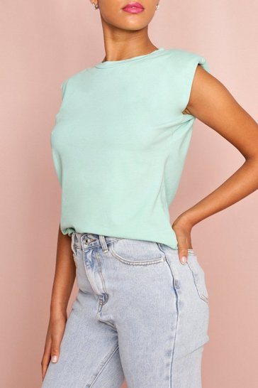 Sage Rolled Sleeve Shoulder Pad T-Shirt