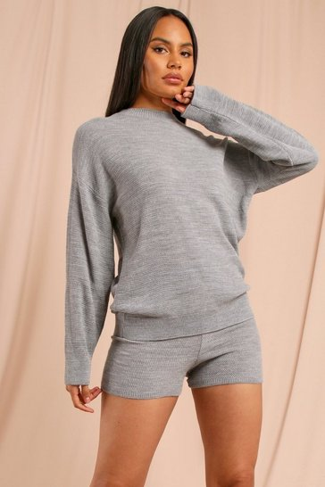 Grey Knitted Shorts Lounge Set
