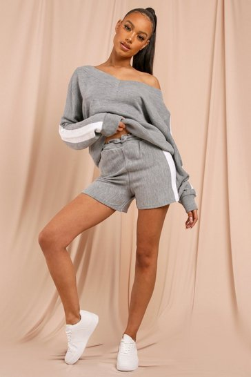 Grey Knitted Panelled Shorts Lounge Set