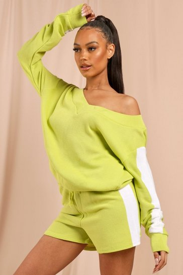 Soft lime Knitted Panelled Shorts Lounge Set