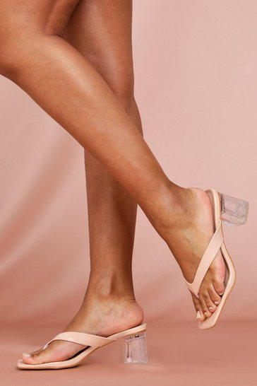 Nude Toe Thong Clear Heel Mules