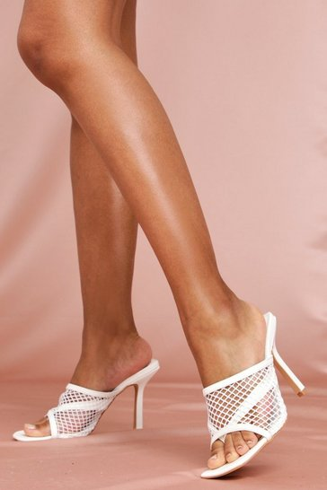 White Fishnet Square Toe Mules