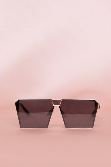 Gold Frame Black Lense Square Sunglasses